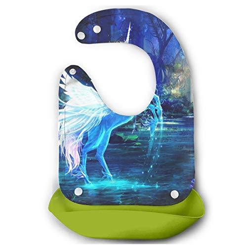 Babero de silicona impermeable con diseño de unicornio mágico con alas de ángel, resistente al agua, Verde, 12.8' x 10.8'