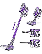 Cordless Vacuum Cleaner, 22KPa Vacuum Cleaner 4 in 1 Stick Vacuum Cleaner with Extension Tube & Wall Mount, Removable Battery 45 Mins Run Time, LED Light, 2 Adjustable Suction for Carpet Floor Pet Hair Car