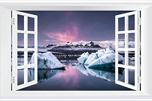 SHOBRILF Ice Blocks - Nature - #29309 - Art Print 3D Fake Windows Wall Stickers Removable Poster Wall Decor for Livingroom Bedroom 24x16 inches ()