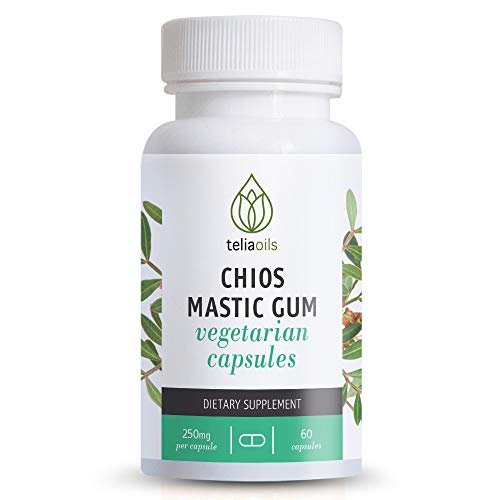 Teliaoils Mastic Gum Capsules - 100% Natural Gut Health Supplement- Potent Greek Mastiha Resin from Chios - Super Effective Aid for Digestive Relief- Organic Gastrointestinal Health Remedy - 60 Caps