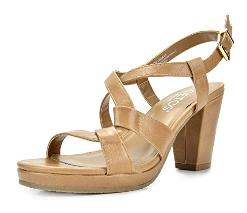 TOETOS DIANE-01 New Women's Cross Strap Open Toes Mid Chunky Heels Platform Dress Sandals Nude Size 8.5 ()