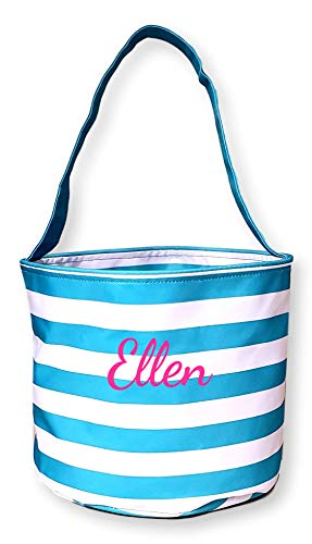 Fabric Bucket Tote Bag for Children - Toys - Easter Basket - Can Be Personalized (Turquoise Stripe - Embroidered Name) -