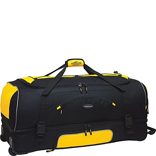 adventurer-duffel-collection-30-2-section-drop-bottom-rolling-duffel-in-yellow-and-black