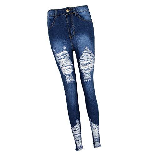 Sexy Petit Fit Femmes Sharplace Taille Denims S Leggings Pied 3XL Jeans Bleu Slim Haute Dchirs Pantalons F7qdXqcWz
