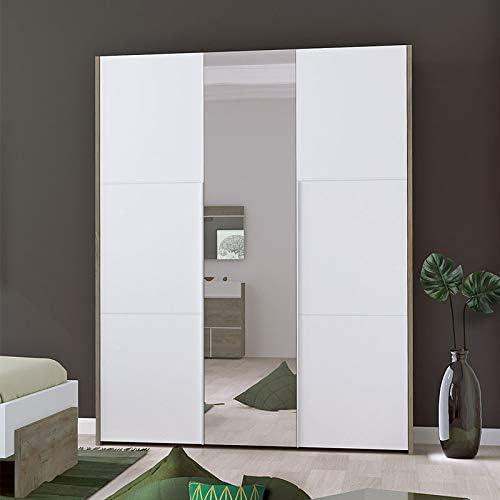 Tousmesmobili - Armario de 3 Puertas abatibles (Roble Lavado/Blanco Mate, 162 x 57 x 209): Amazon.es: Hogar