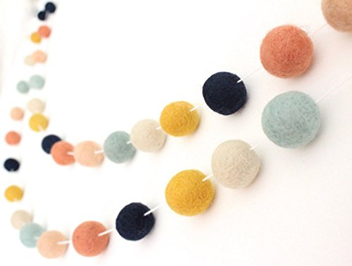 Arizona Handmade Wool Felt Ball Garland by Sheep Farm Felt- Coral, Mint, Navy, Mustard, Peach  Cream Felt Ball Garland, Made to Order, Pom Pom Garl…