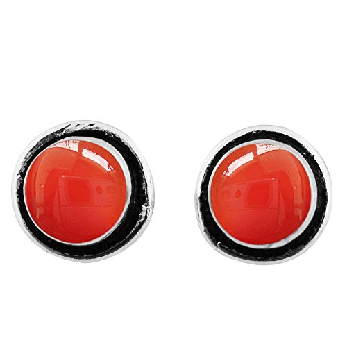 Red Carnelian Earrings (8x8mm Round Genuine Red/Orange Carnelian & 925 Silver Plated Stud Earrings)