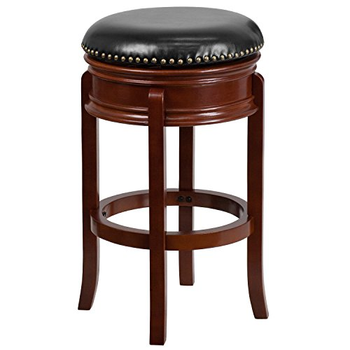 (Flash Furniture 29'' High Backless Light Cherry Wood Barstool with Black Leather Swivel Seat)