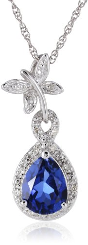 Sterling Silver Created-Blue-Sapphire and Diamond Dragonfly Pendant Necklace (0.06 cttw, I-J Color, I2-I3 Clarity), 18