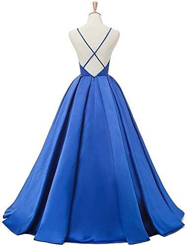 Satin Evening Dress Women Length Clothing Festive Neck V Wedding Dress Solid Colors Sleeveless Slim Fit Sling Dresses Summer E Evening Dress (Color : Schwarz, One Size : 46W)