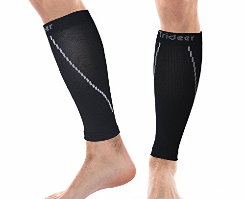 Trideer Calf Compression Sleeve - Ultra Light Breathable for Shin Splint & Calf Pain Relief, Circulation & Support - Leg Compression Socks for Men and Women (1 Pair) (Sleeve Compression Top)