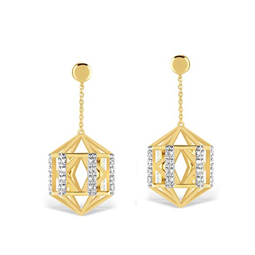 10K Yellow Gold 1/8 Carat Round-Cut (H-I Color, I2 Clarity) Natural Diamond Earrings for Women ()