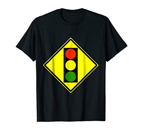 Mens Traffic Light Ahead Sign Simple Halloween Costume T-Shirt 3XL Black ()