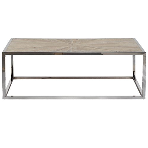 Top Only Rectangular Base Table (Benzara BM176131 Rectangular Metal Frame Coffee Table with Wooden Top, One, Brown and Silver)