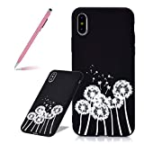 SKYXD Case for iPhone Xs Max, Black Ultra Thin Shock-Absorption Scratch-Resistant Protective Bumper TPU Soft Rubber Silicone Phone Cover for iPhone Xs Max 6.5 inch - Dandelion
