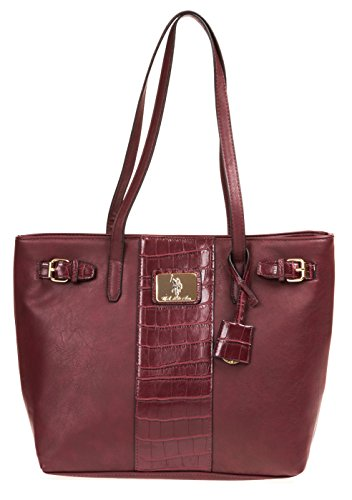 Us Bag (U.S. Polo ASSN. Designer Handbags Women's Classic Saddle Tote - Bordeaux (More Colors)