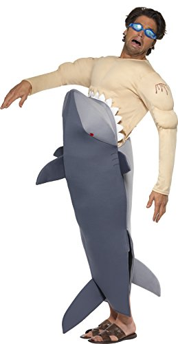 Man Eating Shark Halloween Costume (Smiffy's Men's Man Eating Shark Costume, Shark Bodysuit and Goggles, Funny Side, Serious Fun, One Size, 36378)