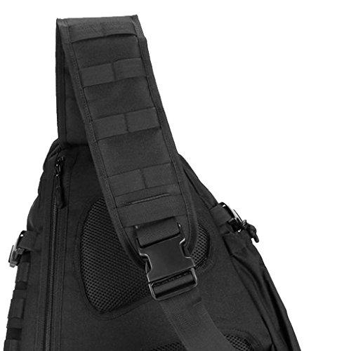 MagiDeal Bolsa Multifuncional Bolsa de Pecho de Hombro - Negro Negro