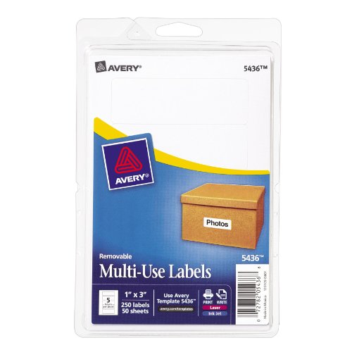 Avery Removable Print/Write Labels, 1 x 3 Inches, White, Pack of 250 (Avery Removable Label)