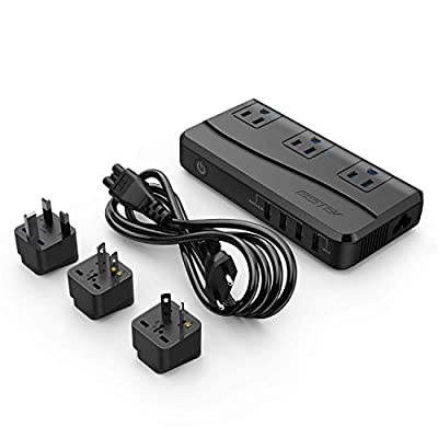 BESTEK Universal Travel Adapter Power Step Down 220V to 110V Voltage Converter with QC3.0 USB Charging Port International Travel Adapter for UK/AU/US/EU/Asia, ETL Listed: Automotive
