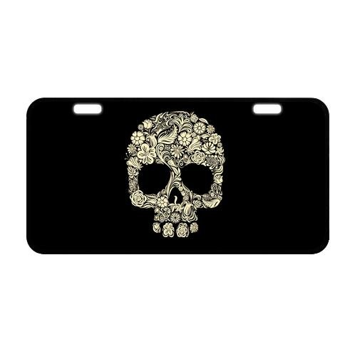 Abstract Floral Flower Dia De Los Muertos Sugar Skull Durable And Strong Aluminum Car License Plate 11.8