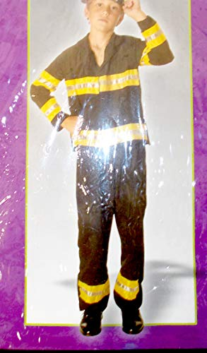 PMG Halloween Black Yellow Silver Fireman Costume Outfit M 8-10 -