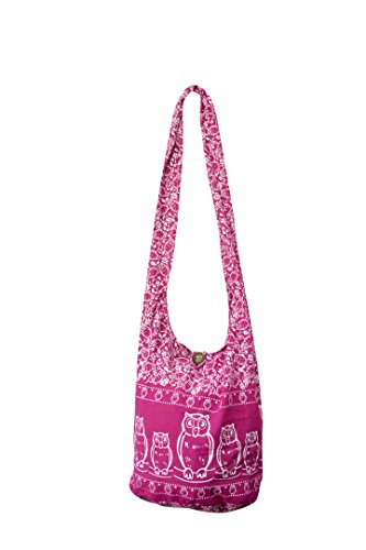 Sling Cross body BAG COTTON canvas over 40 prints sustainable living hippie slouch cross body boho hippy eco friendly shopping bag (STAR Black) White Owl Pink Bag