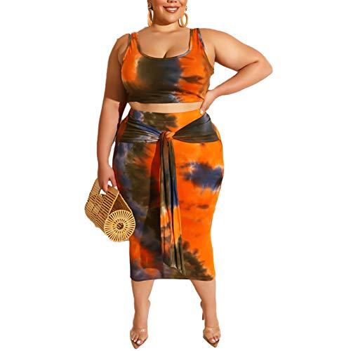 2 Piece Set Tank Top - Women's Casual Summer Plus Size Tye Die Tank Crop Top Maxi Skirt Set Bodycon 2 Piece Floral Dress Orange XL
