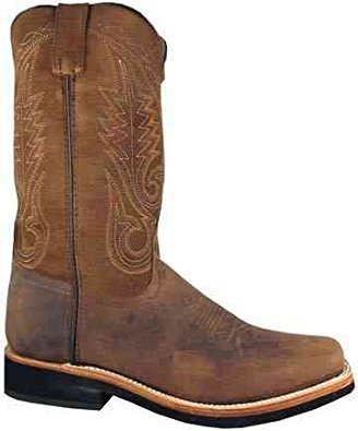 Smoky Mountain Boots Mens Boonville Brown Distress Leather Square Toe 13 D