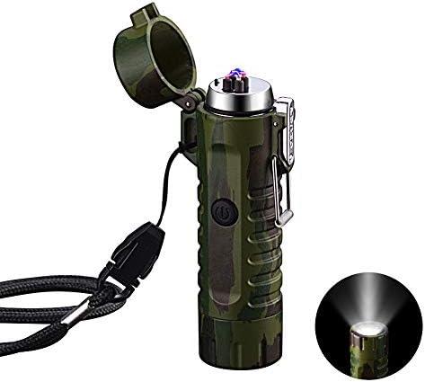 VOMONO Elektrische aansteker winddicht USBoplaadbaar aansteker met zaklamp vlamloos voor barbecue fornuis kaarsen en outdoor camping in uitstapjes camouflage