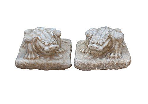 Chinese Pair Off White Brown Marble Stone Fengshui Pixiu Statues Acs3306