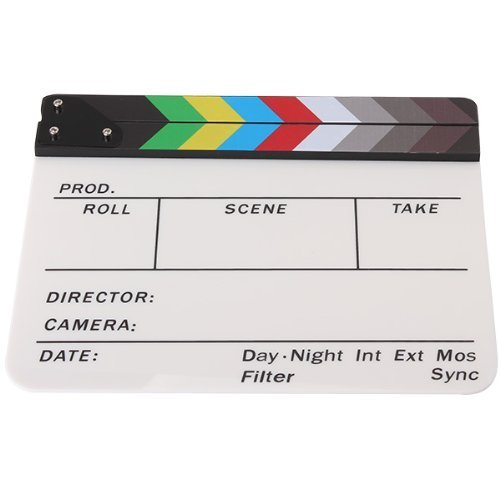 Andoer Acrylic Colorful Clapperboard TV Film Movie Slate Cut Role Play Prop Hollywood
