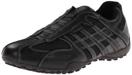 Geox Men's Snake 97 Fashion Sneaker,Black/Lead,45 EU/12 M US