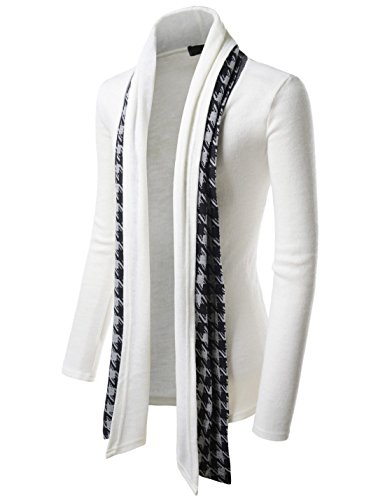 TheLees (GD92) Slim Fit Hound tooth Check Open Front Shawl Collar Stylish Wool Cardigan White US S(Tag size L) by TheLees (Image #3)
