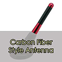 """Alpha Racing Universal 3"""" RED Short Aluminum Carbon Fiber Printed Screw-on Car Radio Antenna for Mini Cooper (Exclude Covertible)"""
