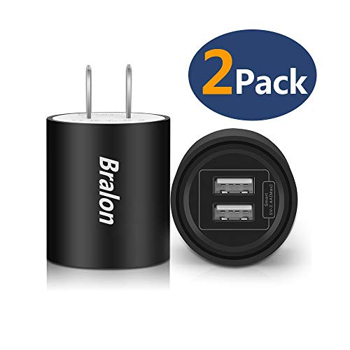 USB Wall Charger,Bralon 2-Pack 2.4Amp Dual Port Smart Charger Plug Adapter Compatible iPhone Xs(max)/Xr/X/8/7/6/5(S/Plus),Galaxy S9/8/7/6/5, LG, HTC, Moto, Huawei, Kindle and More