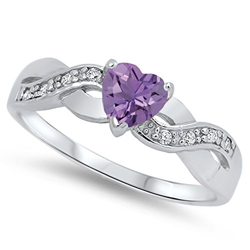 925 Sterling Silver Faceted Natural Genuine Purple Amethyst Infinity Knot Heart Promise Ring Size 10