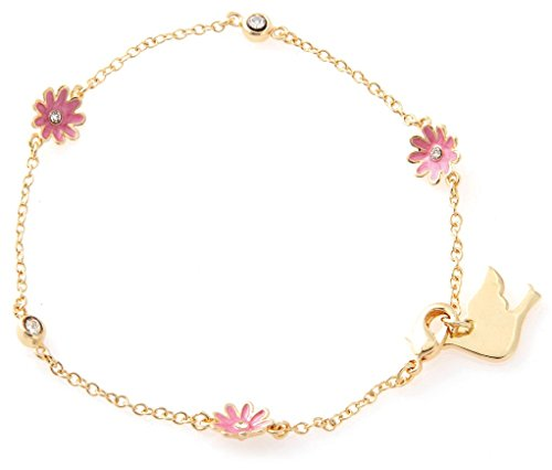 Dew Collection (Girl Nation Little Treasures Enamel Collection Dew Drop Daisy Bracelet, Pink)