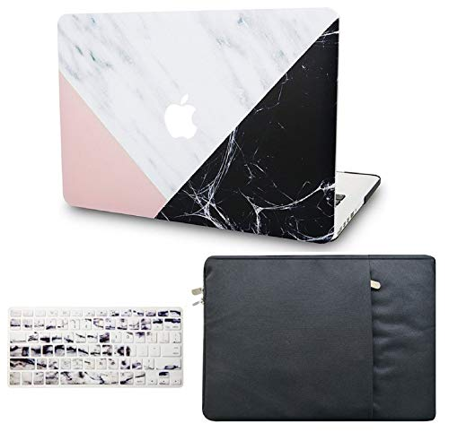 """KECC Laptop Case for MacBook Air 13"""" w/Keyboard Cover + Sleeve Plastic Hard Shell Case A1466/A1369 (White Marble Pink Black)"""