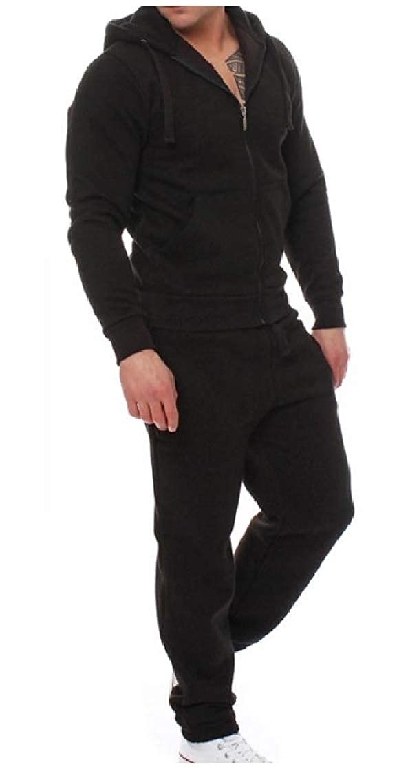 YUNY Mens Casual Zip Pockets 2-Piece Hood Slim Tracksuit Outfit Black M
