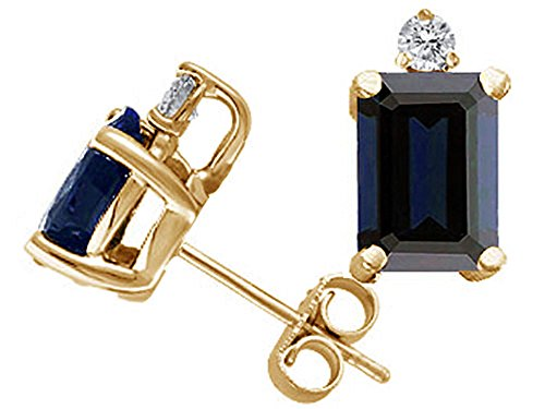 Tommaso Design Emerald Cut Genuine Sapphire Earrings Studs 14kt