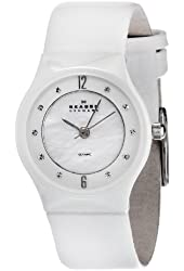 Skagen Women's 233XSCLW Ceramic Mother-Of-Pearl Dial Watch