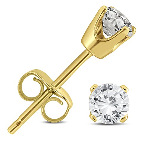 1/3 Carat TW AGS Certified Round Diamond Solitaire Stud Earrings in 14K Yellow - Diamond Gold Solitaire Earrings