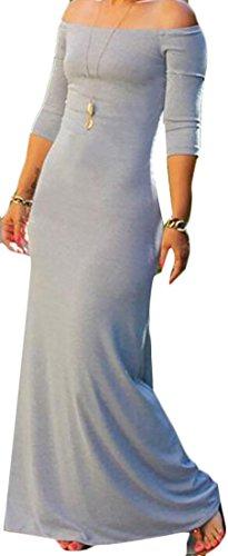 Casual Shoulder Boho 4 Shoulder Grey Off Fashion 3 Women's Dress Maxi Summer ainr q8wH61