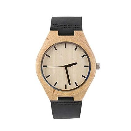 Huihuiya Relojes Vintage Reloj con dial de Arce Banda Negra Hombres Mujeres Pareja Reloj - Negro