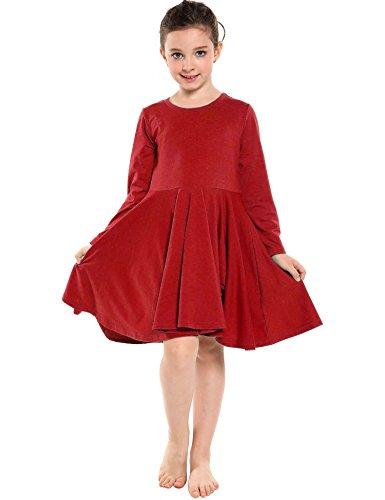 Arshiner Girls' Cotton Long Sleeve Twirly Skater Party Dress, Red, 6 (Twirly Girls)