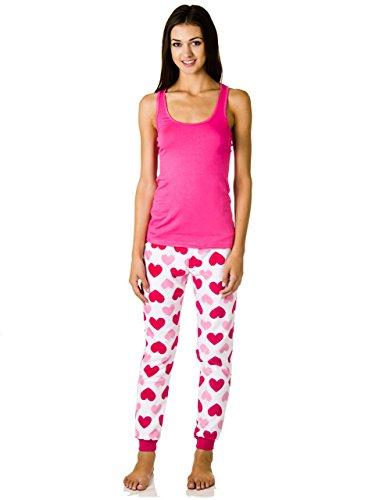 Sleep & Co. Classic Tank Top and Tapered Warm Plush Pants Pajama Set (Large, White/Pink Hearts)