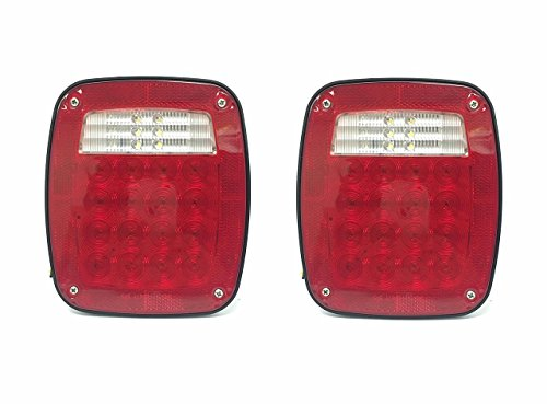 MaxxHaul 80685 2 Pack Universal Square 12V Combination 38 LED Signal Tail Light - for Truck, Trailer, Boat, Jeep, SUV, RV, Vans, Flatbed - 2 Pack, 2 Pack ()