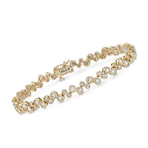 Ross-Simons 3.45 ct. t.w. Bezel-Set Diamond Bubble Bracelet in 14kt Yellow Gold ()