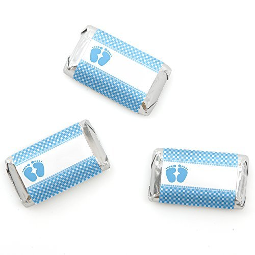Big Dot of Happiness Baby Feet Blue - Baby Shower Mini Candy Bar Wrappers Party Favors - 20 Count